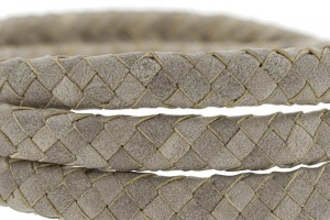 Ovaal gevlochten kabel leer 10x6mm light grey per cm