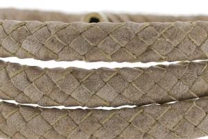 Ovaal gevlochten kabel leer 10x6mm light metallic taupe per cm
