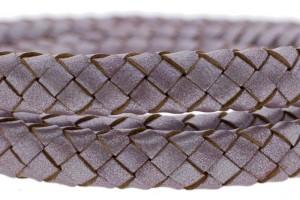 Ovaal gevlochten kabel leer 10x6mm lila metallic per cm