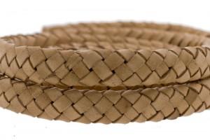 Ovaal gevlochten kabel leer 10x6mm naturel per cm