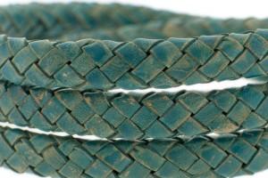 Ovaal gevlochten kabel leer 10x6mm petrol groen per cm
