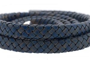 Ovaal gevlochten kabel leer 10x6mm vintage blauw per cm