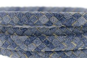Ovaal gevlochten kabel leer 10x6mm vintage lavendel blauw per cm