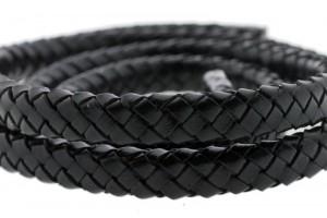 Ovaal gevlochten kabel leer 10x6mm zwart per cm