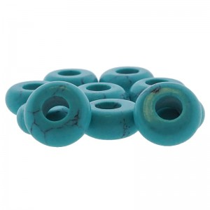 Donut edelsteen kraal turquoise 10.5mm