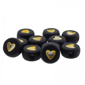 hartjeskralen rond 7mm zwart goud
