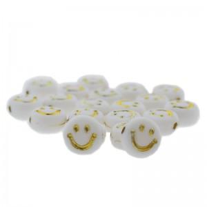 smiley kraal rond 7mm wit goud