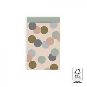 Papieren cadeauzakjes / inpakzakjes big confetti beige 12x19cm (per 5 stuks)
