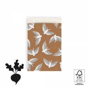 Papieren cadeauzakjes / inpakzakjes birds cognac 12x19cm (per 5 stuks)