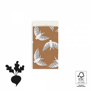 Papieren cadeauzakjes / inpakzakjes birds cognac 7x13cm (per 5 stuks)