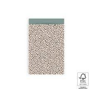 Papieren cadeauzakjes / inpakzakjes Black Dots 12×19cm beige (per 5 stuks)