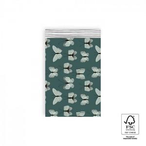Papieren cadeauzakjes / inpakzakjes Butterfly 12×19cm blue (per 5 stuks)