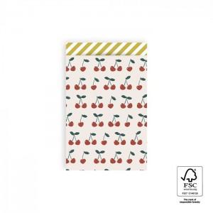 Papieren cadeauzakjes / inpakzakjes Cherry 12×19cm stripes yellow (per 5 stuks)