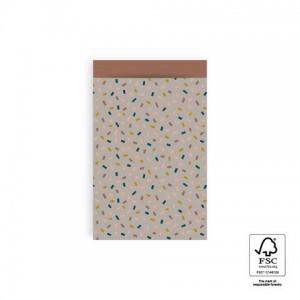 Papieren cadeauzakjes / inpakzakjes Confetti Multi 12×19cm taupe terra (per 5 stuks)