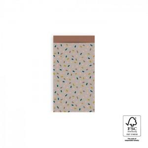Papieren cadeauzakjes / inpakzakjes Confetti Multi 7x13cm taupe terra (per 5 stuks)
