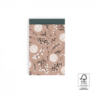 Papieren cadeauzakjes / inpakzakjes Flowers Big 12×19cm pink petrol (per 5 stuks)