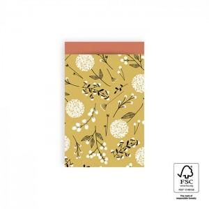 Papieren cadeauzakjes / inpakzakjes Flowers Big 12×19cm yellow warm red (per 5 stuks)
