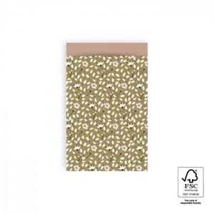 Papieren cadeauzakjes / inpakzakjes Flowers Liberty 12×19cm olive green pink (per 5 stuks)