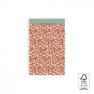 Papieren cadeauzakjes / inpakzakjes Flowers Liberty 12×19cm warm red blue (per 5 stuks)
