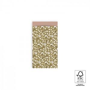 Papieren cadeauzakjes / inpakzakjes Flowers Liberty 7x13cm olive green pink (per 5 stuks)