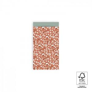 Papieren cadeauzakjes / inpakzakjes Flowers Liberty 7x13cm warm red blue (per 5 stuks)
