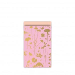 Papieren cadeauzakjes / inpakzakjes GROW 12×19cm goud peach (per 5 stuks)