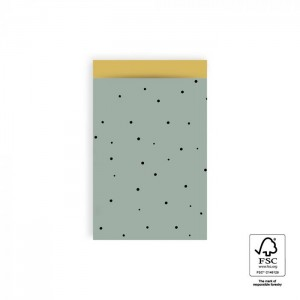 Papieren cadeauzakjes / inpakzakjes Little Dot 12×19cm faded green (per 5 stuks)