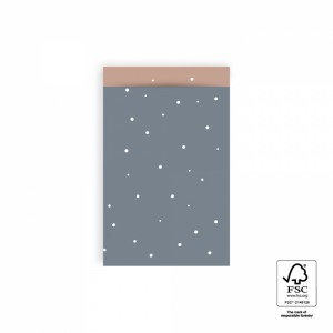 Papieren cadeauzakjes / inpakzakjes little dot sky blue – warm pink 12x19cm (per 5 stuks)