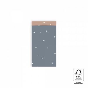 Papieren cadeauzakjes / inpakzakjes little dot sky blue - warm pink 7x13cm (per 5 stuks)