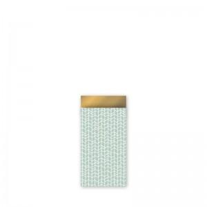 Papieren cadeauzakjes / inpakzakjes new tracks mint - goud 7x13cm (per 5 stuks)