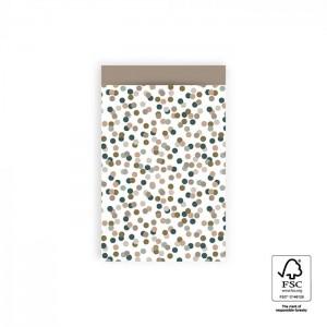 Papieren cadeauzakjes / inpakzakjes Small Confetti 12×19cm taupe (per 5 stuks)