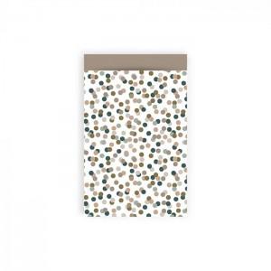 Papieren cadeauzakjes / inpakzakjes small confetti taupe 12x19cm (per 5 stuks)