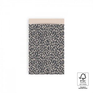Papieren cadeauzakjes / inpakzakjes Sparkles 12×19cm grey beige (per 5 stuks)