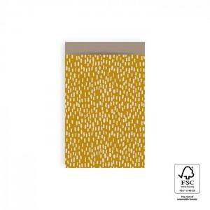 Papieren cadeauzakjes / inpakzakjes Sparkles 12×19cm yellow taupe (per 5 stuks)