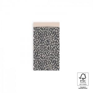 Papieren cadeauzakjes / inpakzakjes Sparkles 7x13cm grey beige (per 5 stuks)