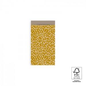 Papieren cadeauzakjes / inpakzakjes Sparkles 7x13cm yellow taupe (per 5 stuks)