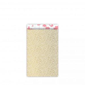 Papieren cadeauzakjes / inpakzakjes Spring Cubes 12×19cm goud neon roze (per 5 stuks)