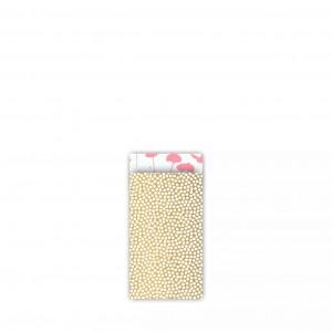 Papieren cadeauzakjes / inpakzakjes Spring Cubes 7x13cm goud neon roze (per 5 stuks)