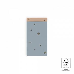 Papieren cadeauzakjes / inpakzakjes stars duo ice blue - warm pink 7x13cm (per 5 stuks)