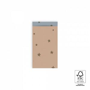 Papieren cadeauzakjes / inpakzakjes stars duo warm pink - ice blue 7x13cm (per 5 stuks)