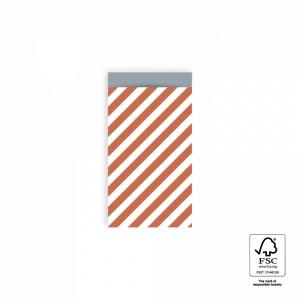Papieren cadeauzakjes / inpakzakjes stripe diagonal faded red - ice blue 7x13cm (per 5 stuks)