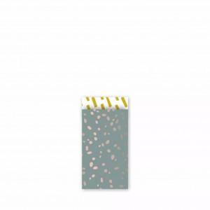 Papieren cadeauzakjes / inpakzakjes 'colorful terrazzo' 7x13cm wax oud roze oker (per 5 stuks)