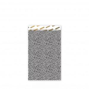 Papieren cadeauzakjes / inpakzakjes 'cozy cubes' 12×19cm zwart wit goud (per 5 stuks)