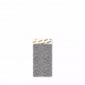 Papieren cadeauzakjes / inpakzakjes 'cozy cubes' 7x13cm zwart wit goud (per 5 stuks)