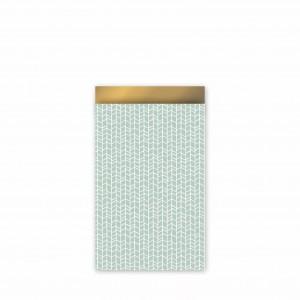 Papieren cadeauzakjes / inpakzakjes 'new tracks' 12×19cm mint goud (per 5 stuks)