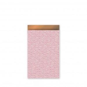 Papieren cadeauzakjes / inpakzakjes 'new tracks' 12×19cm oud roze roest (per 5 stuks)