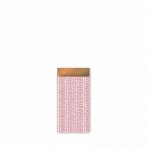 Papieren cadeauzakjes / inpakzakjes 'new tracks' 7x13cm oud roze roest (per 5 stuks)