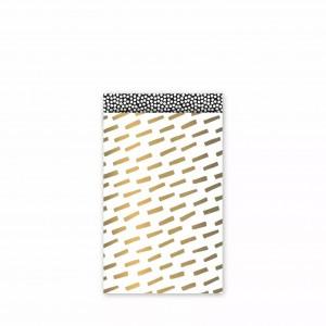 Papieren cadeauzakjes / inpakzakjes 'open spaces' 12×19cm goud wit zwart (per 5 stuks)