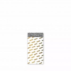 Papieren cadeauzakjes / inpakzakjes 'open spaces' 7x13cm goud wit zwart (per 5 stuks)