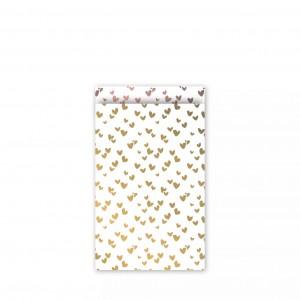 Papieren cadeauzakjes / inpakzakjes 'solo hearts' 12×19cm goud rose (per 5 stuks)